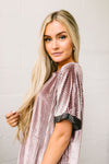 Burnout Beauty Embossed Velvet Top In Mauve