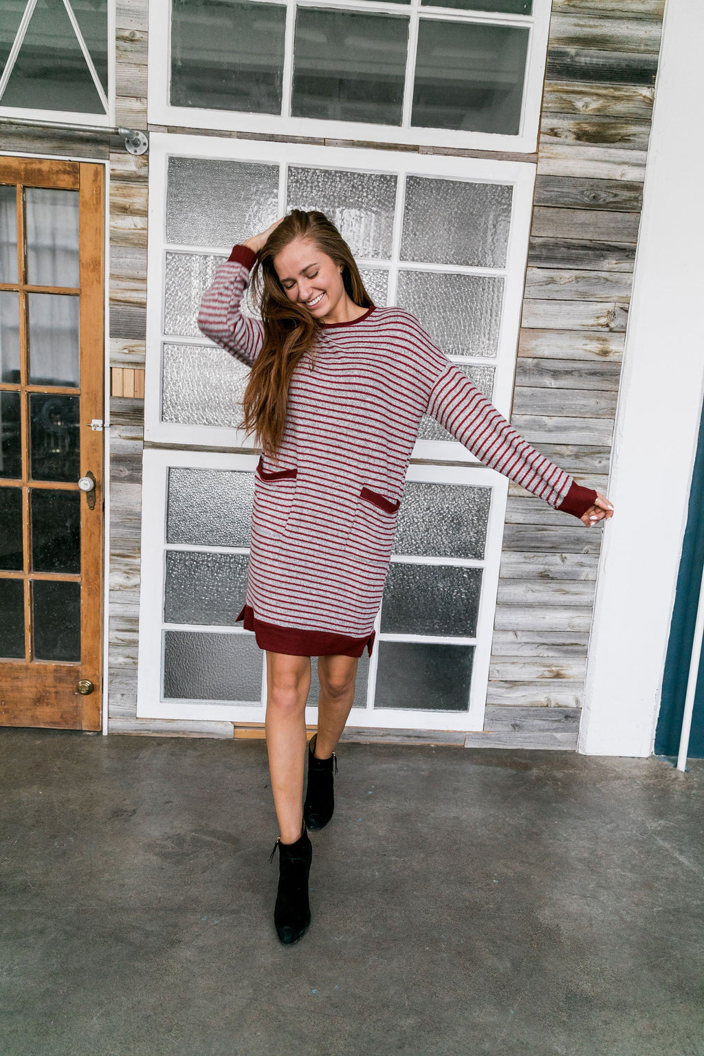 Georgia On My Mind Dress In Gray + Brick