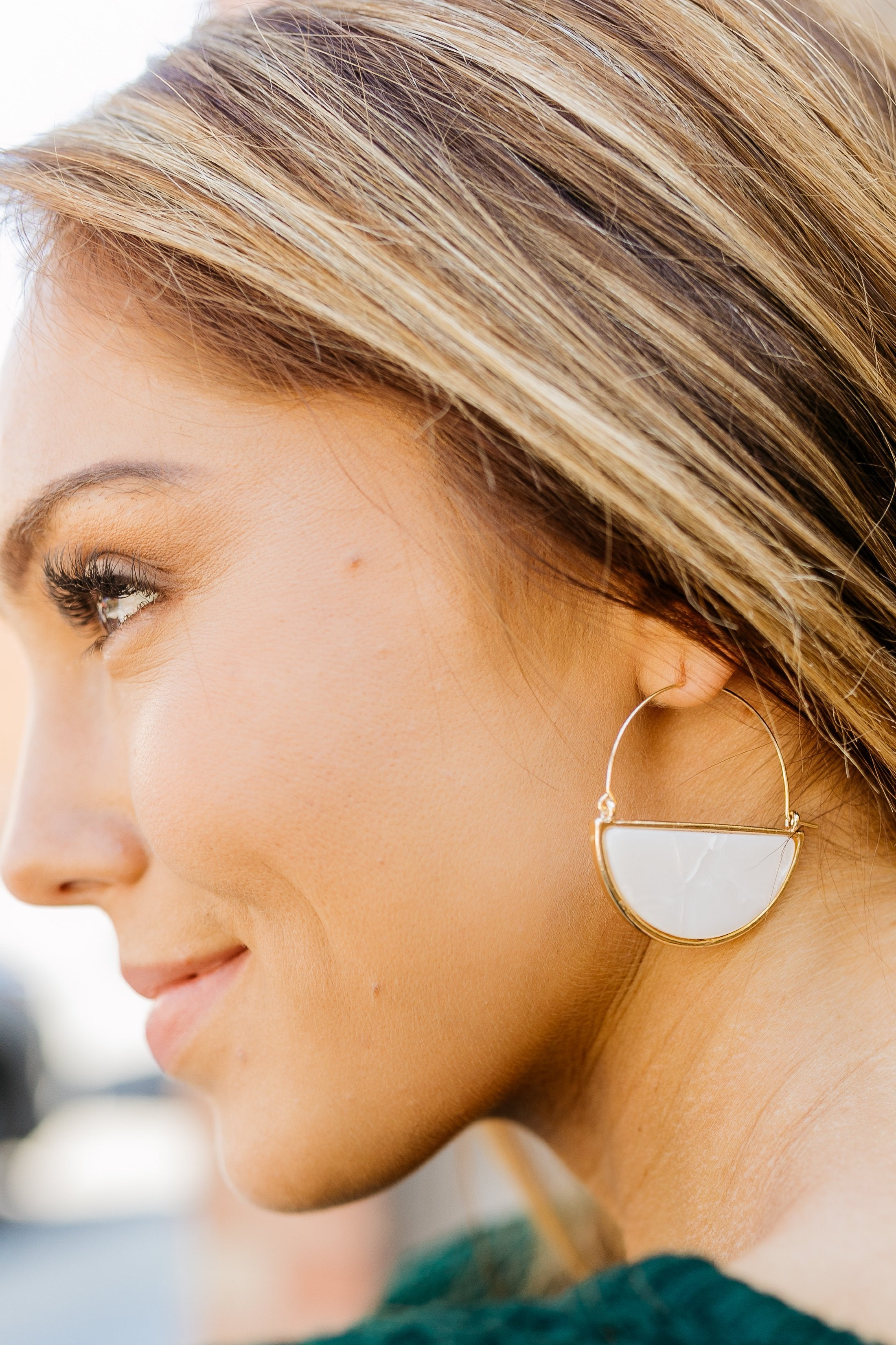 Glass Half Full Hoop Earrings In White