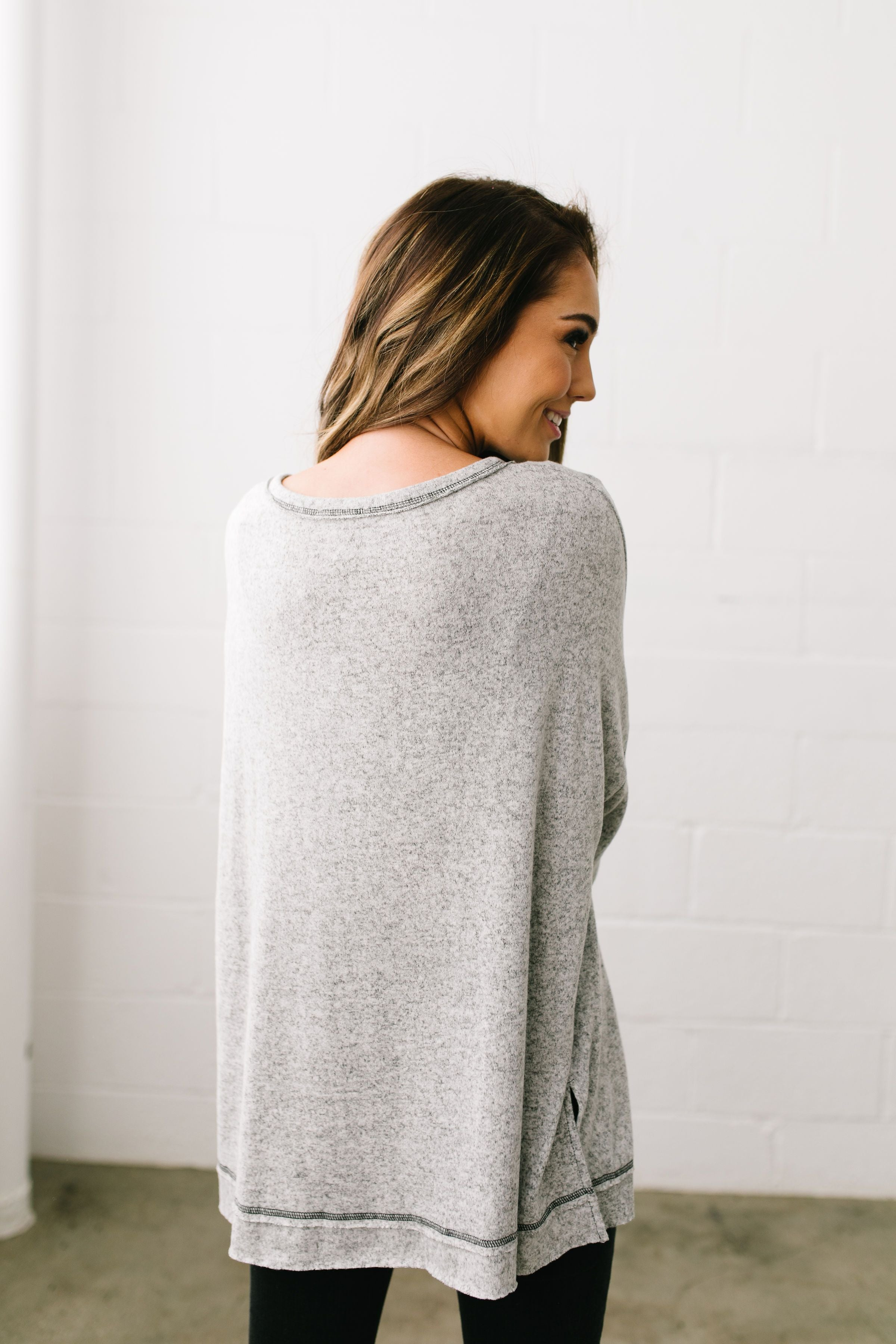 Heavenly Henley Top In Heather Gray