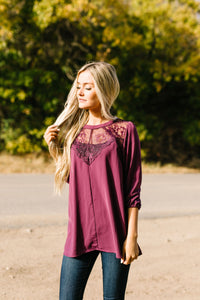Heavenly Holiday Lace Inset Blouse In Plum - ALL SALES FINAL