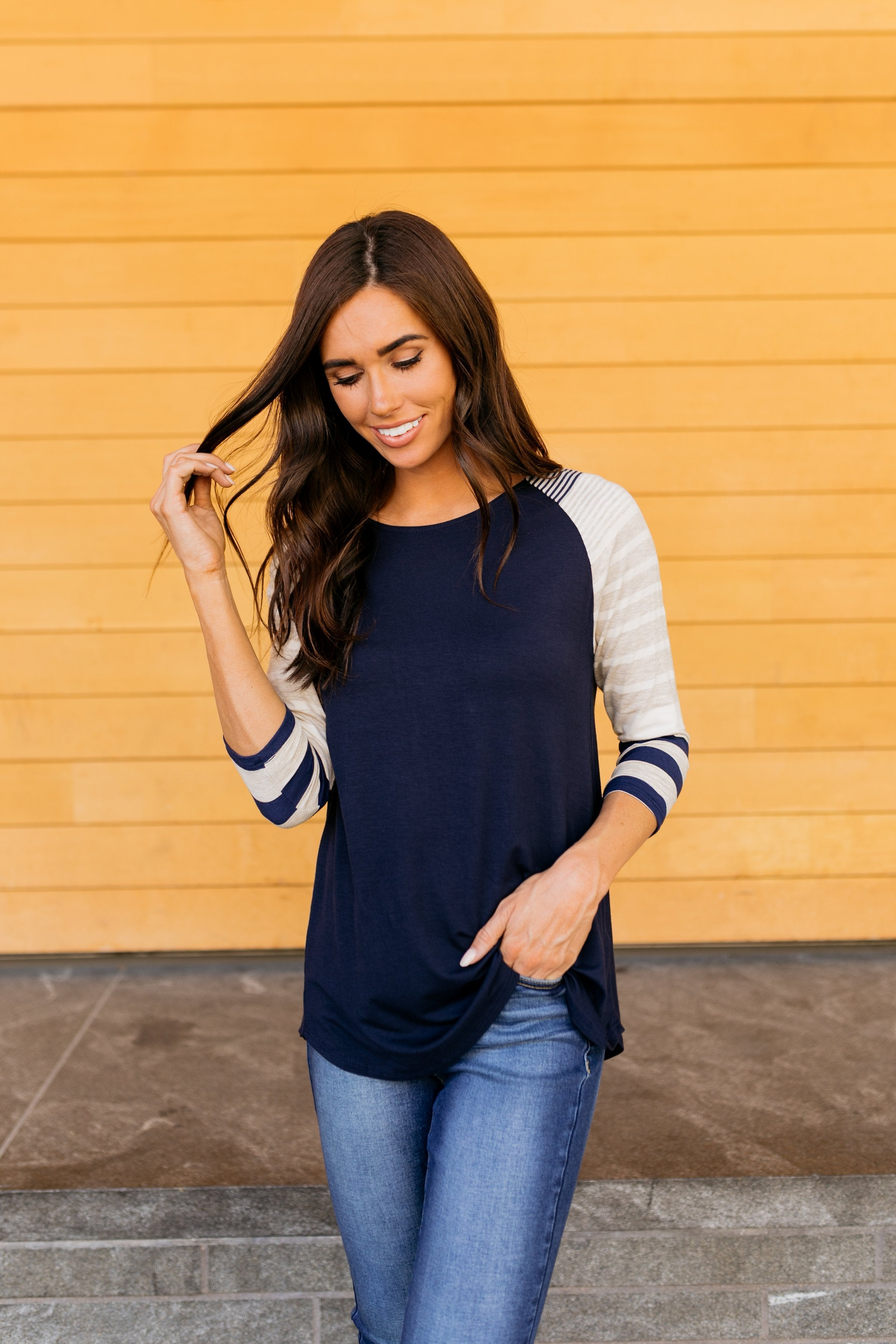 Play It Again Raglan Tee In Navy