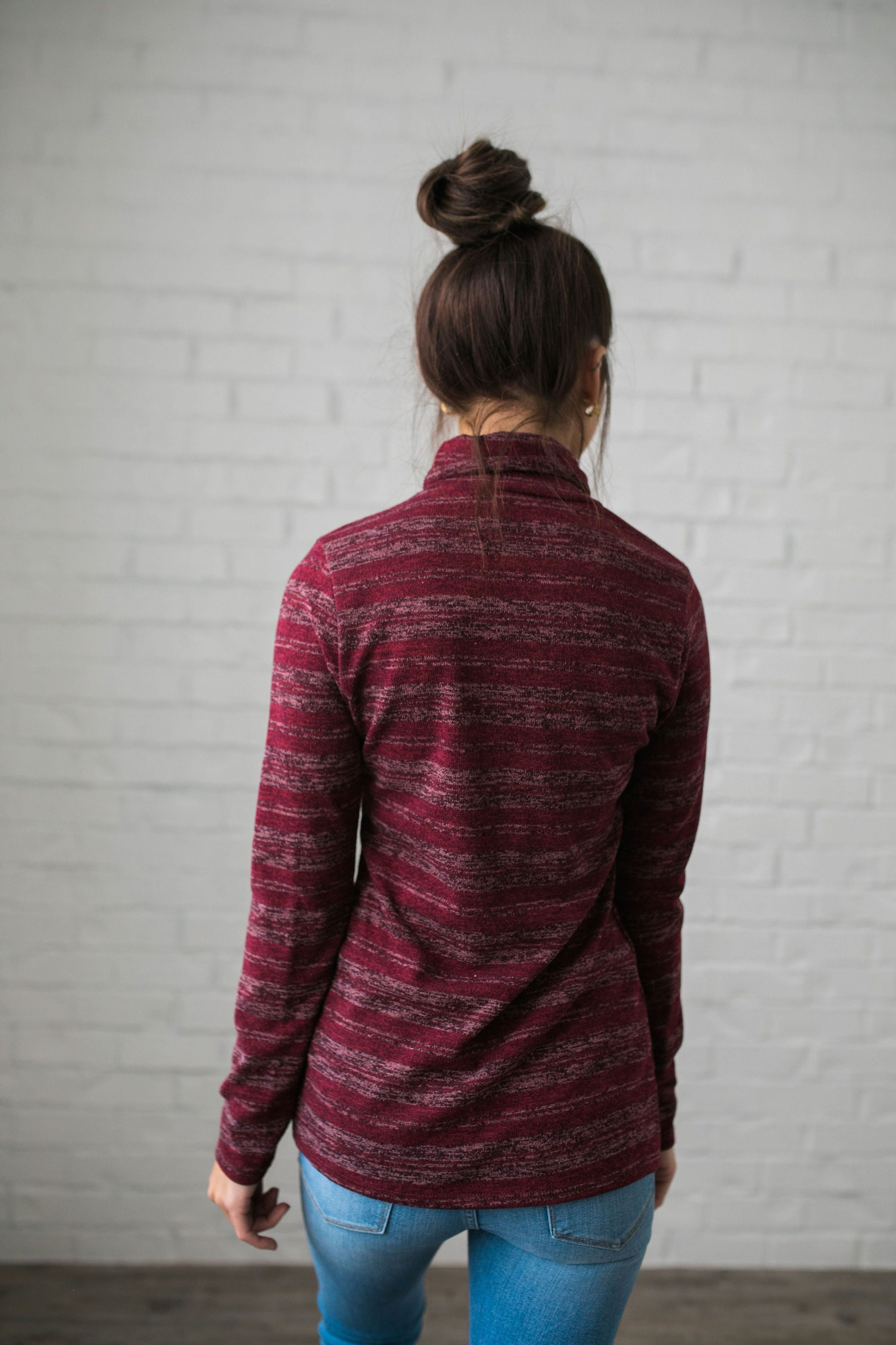 Portland Striped Turtleneck In Wine - ALL SALES FINAL