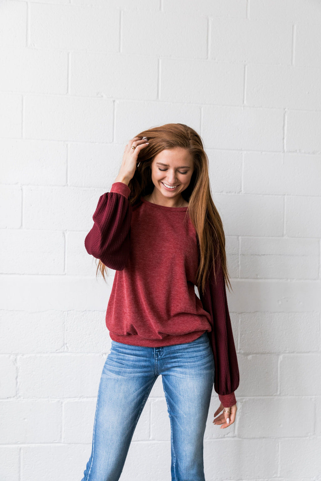 Ramona Raglan Bubble Sleeve Sweatshirt