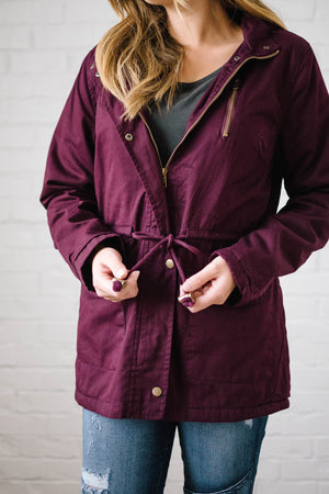 Scouting It Out Fur Lined Jacket in Burgundy