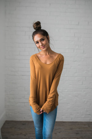 Seams Splendid Top In Camel - ALL SALES FINAL