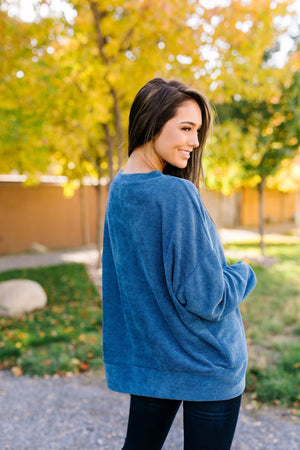 Soft Like Butter Chenille Top In Blue - ALL SALES FINAL