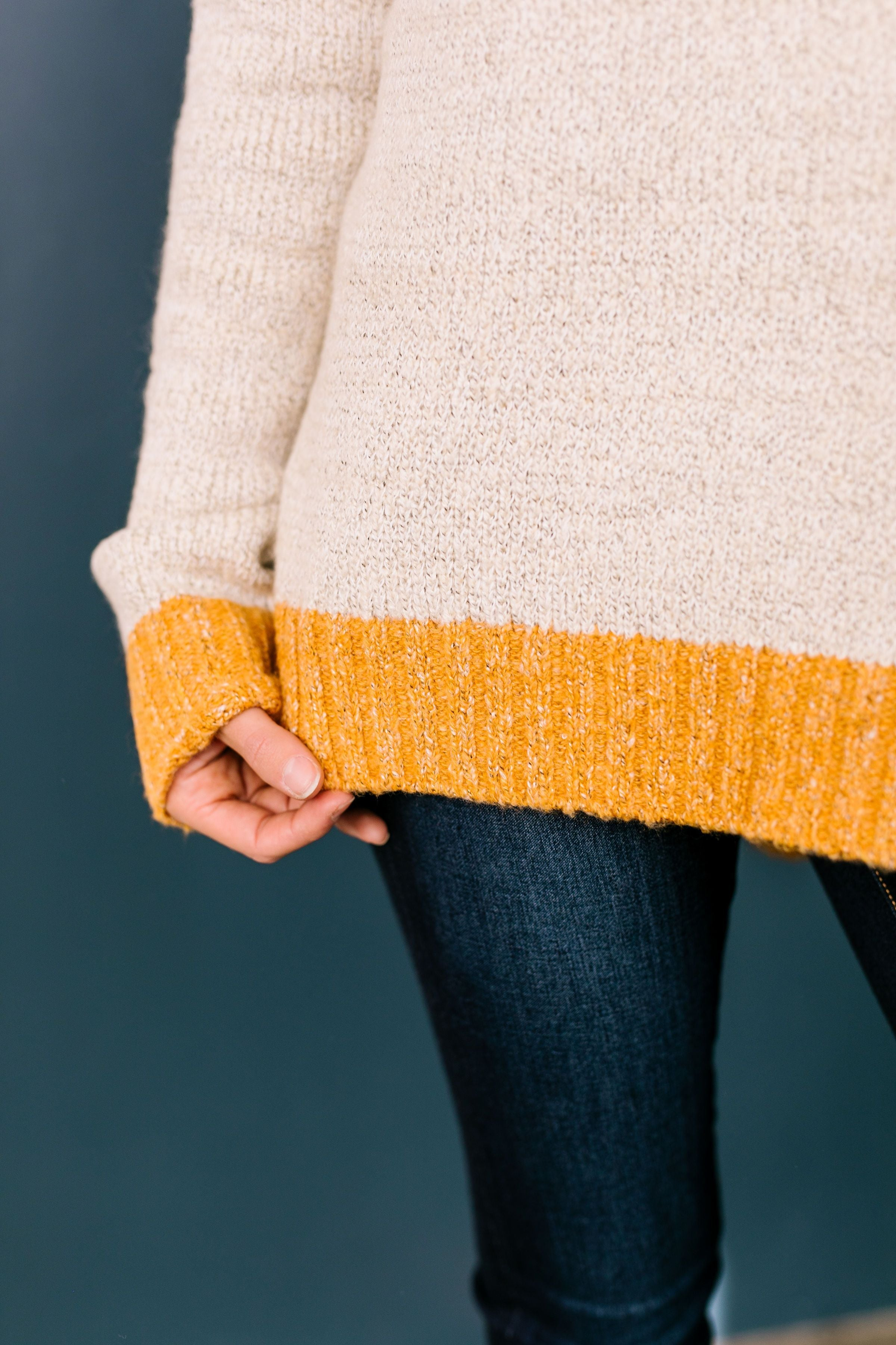 Sunny Side Up Color Block Sweater In Marigold