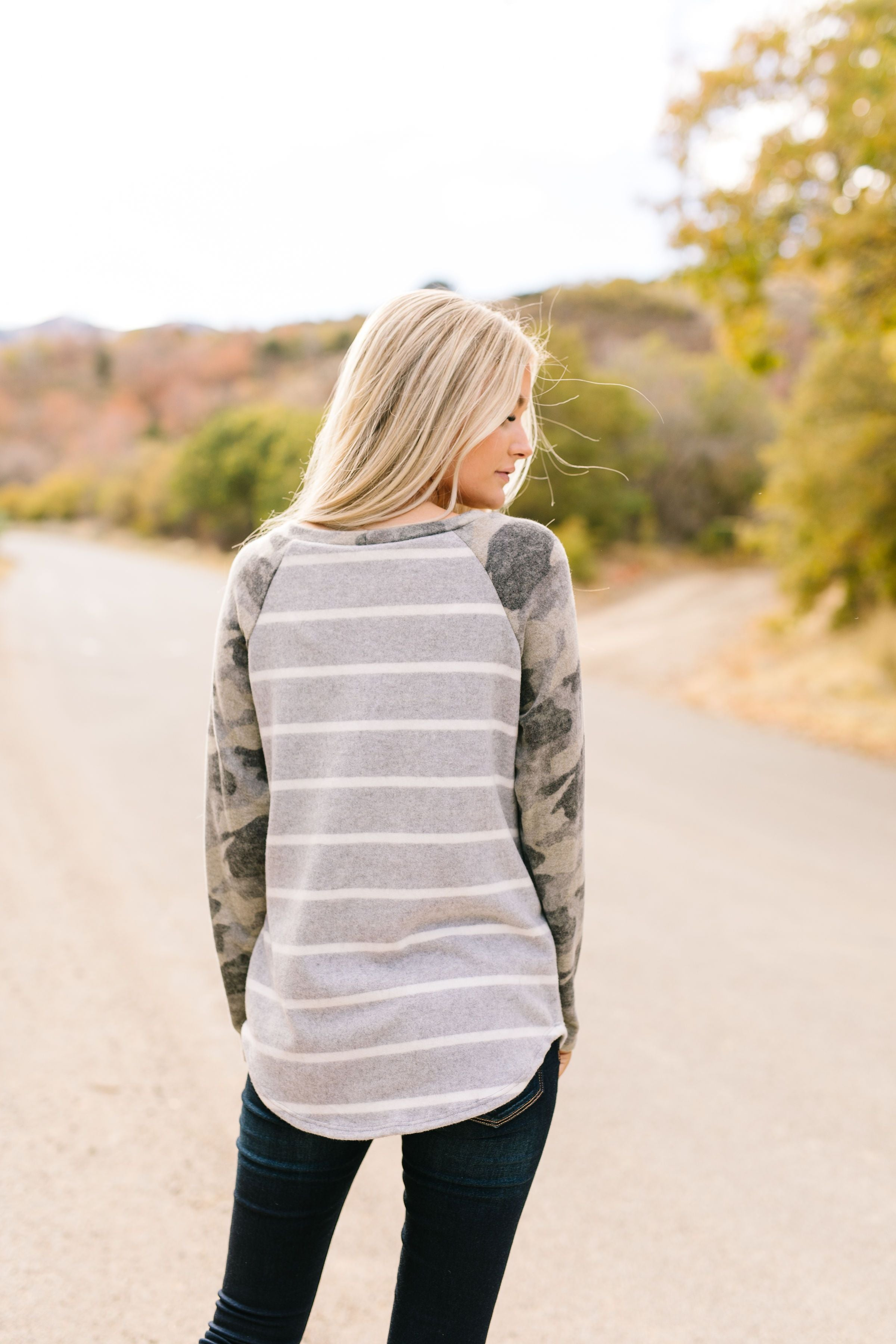 The Hunt Is Over Camouflage Raglan Sleeved Top - ALL SALES FINAL