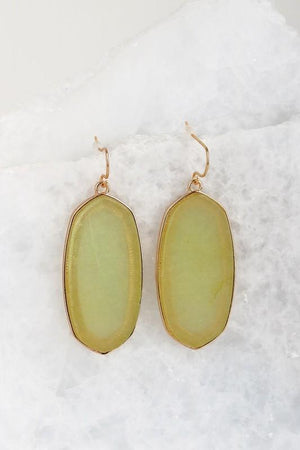 Translucent Stone Earrings In Greenland Olive - ALL SALES FINAL