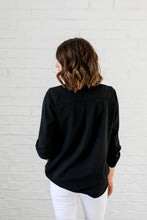 Load image into Gallery viewer, Madeline Mandarin Collared Top In Black