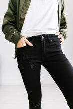 Load image into Gallery viewer, Ripped Knee Black Skinny Jeans - ALL SALES FINAL