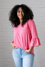Load image into Gallery viewer, Trumpet Sleeve Blouse In Petunia Pink