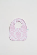 Load image into Gallery viewer, Pearl Pink Damask Reversible Bib