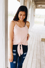 Load image into Gallery viewer, Chevron Stripes Tie Front Tank In Blush