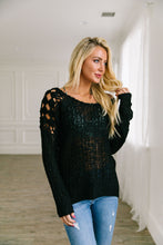 Load image into Gallery viewer, Cut Above Diamond Crochet Sweater In Black