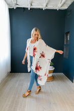 Load image into Gallery viewer, Flowing Floral Kimono in Ivory