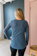 Load image into Gallery viewer, Heidi Lace Trimmed Henley In Denim