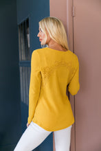 Load image into Gallery viewer, Heidi Lace Trimmed Henley In Honey