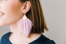 Load image into Gallery viewer, Lavender Statement Tassel Earrings