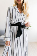 Load image into Gallery viewer, Sophisticated Stripe Midi Dress - ALL SALES FINAL