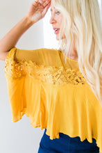 Load image into Gallery viewer, Sweet As Honey Mesh + Lace Blouse - ALL SALES FINAL