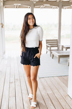 Load image into Gallery viewer, Amber Scalloped Hem Shorts In Black