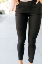 Load image into Gallery viewer, Beyond Basics Black Moto Jeggings