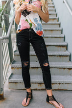 Load image into Gallery viewer, Black Distressed Skinnies