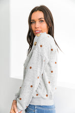 Load image into Gallery viewer, Buttons + Polka Dots Sweater - ALL SALES FINAL