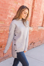 Load image into Gallery viewer, Buttons On The Side High Low Sweater In Gray - ALL SALES FINAL
