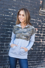 Load image into Gallery viewer, Camille Camo Half Zip Sweatshirt - ALL SALES FINAL