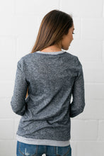 Load image into Gallery viewer, Casual Elegance Embroidered Top In Navy - ALL SALES FINAL