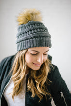 Load image into Gallery viewer, CC Fur PomPom Beanie in Gray