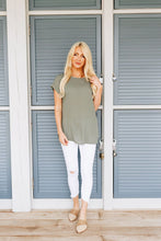 Load image into Gallery viewer, Chelsea Rolled Sleeve Top In Light Olive