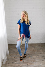 Load image into Gallery viewer, Chelsea Rolled Sleeve Top In Sapphire