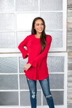 Load image into Gallery viewer, Christmas Red Bell Sleeve Top - ALL SALES FINAL