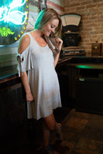 Load image into Gallery viewer, Cold Shoulder Dress In Gray