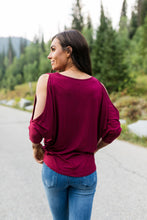 Load image into Gallery viewer, Cold Shoulders Warm Heart Top in Burgundy - ALL SALES FINAL