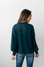 Load image into Gallery viewer, Crocheted Balloon Sleeve Sweater In Teal - ALL SALES FINAL