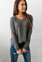 Load image into Gallery viewer, Cropped Cable Knit Sweater In Charcoal - ALL SALES FINAL