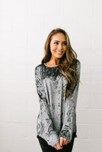 Load image into Gallery viewer, Crushing It Velvet Pleated Back Top In Charcoal - ALL SALES FINAL