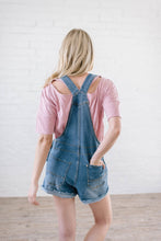 Load image into Gallery viewer, Distressed Denim Overall Shorts Dark Wash