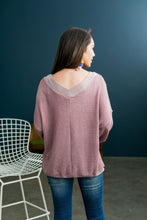 Load image into Gallery viewer, Double V Waffle Knit Top In Mauve - ALL SALES FINAL