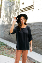 Load image into Gallery viewer, Easy Come Easy Go High-Low Top In Black - ALL SALES FINAL