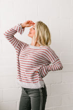 Load image into Gallery viewer, Faded Not Forgotten Striped Sweater In Silver - ALL SALES FINAL