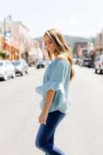 Load image into Gallery viewer, Flirty Flounce Top In Dusty Teal