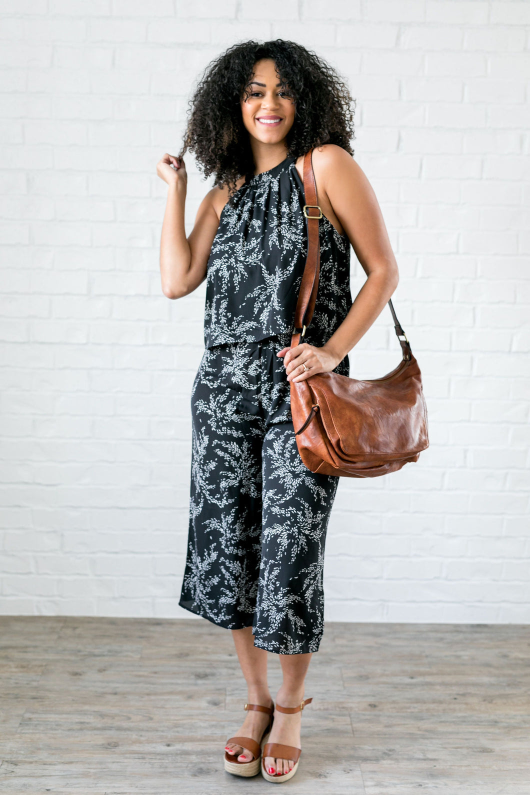 Floral Spray Black + White Jumpsuit - ALL SALES FINAL