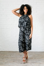 Load image into Gallery viewer, Floral Spray Black + White Jumpsuit - ALL SALES FINAL