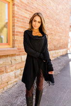 Load image into Gallery viewer, Fringe Benefits Cardigan In Black